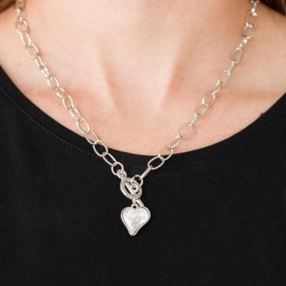 3/$20 Paparazzi Princeton Princess Silver Heart Necklace and Earing Set